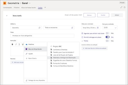 Selecionar uma página de Blocos de Notas Escolares do OneNote para anexar a uma tarefa no Microsoft Teams