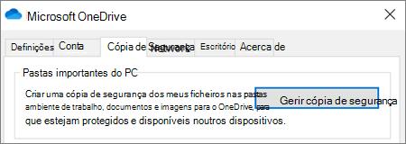 Separador cópia de segurança nas definições de ambiente de trabalho do OneDrive