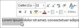 Minibarra de ferramentas com texto selecionado