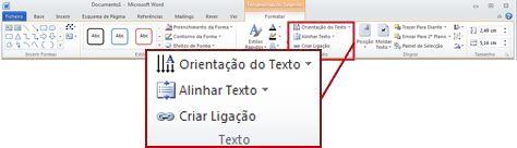 O separador Formatar em Ferramentas de Desenho no friso do Word 2010.