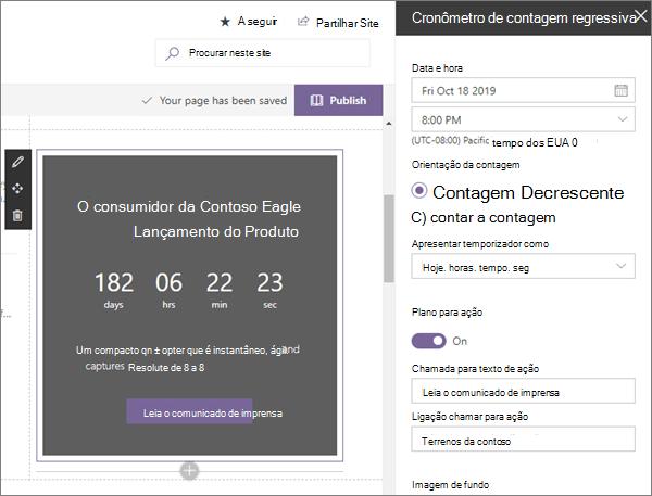 Parte web do temporizador de contagem regressiva na amostra moderna do site de desembarque da empresa no SharePoint Online