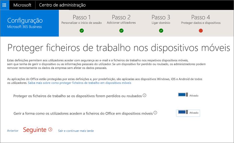 Captura de ecrã da página Proteger ficheiros de trabalho nos seus dispositivos móveis