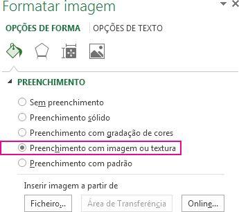 Botão Preenchimento com a Imagem ou Textura no painel Formatar Imagem