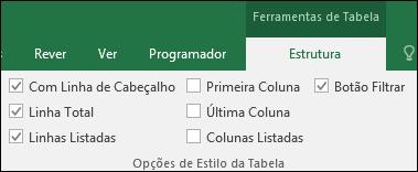 Imagem da opção Ferramentas de Tabela no Friso quando uma célula da tabela está selecionada