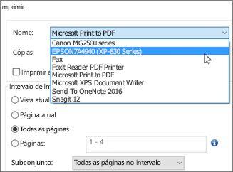 Na caixa Nome, clique no nome da impressora