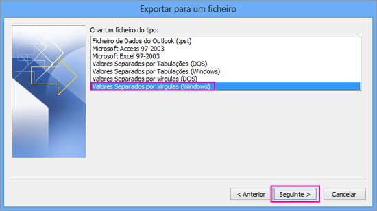 Selecione exportar para um ficheiro .csv (Windows)