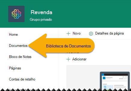 No painel de navegação esquerdo, selecione Documentos para abrir a biblioteca de documentos.