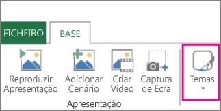 Botão Temas no separador Base do Power Map