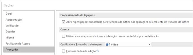 Caixa de diálogo Opções com a caixa de verificação Abrir hiperligações realçada