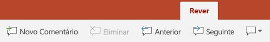 O separador Rever no friso do PowerPoint em tablets Android tem botões para utilizar Comentários.