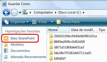 Hiperligação Sites SharePoint na caixa de diálogo Guardar Como