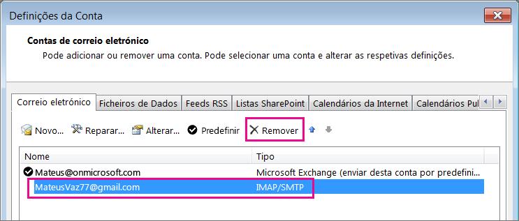 Selecione a conta Gmail que pretende remover e, em seguida, selecione Remover.