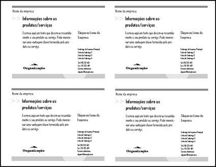 Pré-visualização do postal apresentando quatro postais na folha de papel.