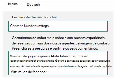 Traduzir conteúdos para outro idioma no Microsoft Forms
