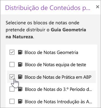 Janela para seleção de distribuição com bloco de notas cruzado