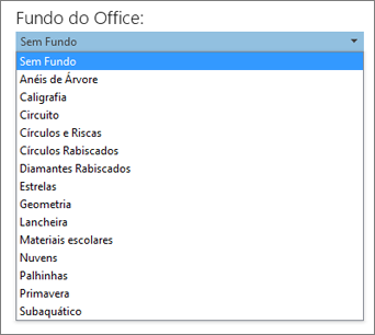 Lista de Fundos do Office nos programas do Office 2013
