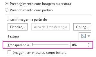 Controlo de deslize da transparência no painel Formatar Imagem