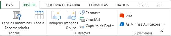 Captura de tela de uma secção do separador inserir na faixa de vistas do Excel com um cursor a apontar para as minhas aplicações. Selecione as minhas aplicações para aceder às aplicações do Excel.