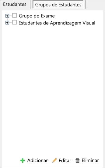 Painel Distribuir Páginas com os Grupos de Estudantes selecionados.