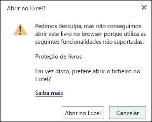 Caixa de diálogo quando abre um livro protegido por palavra-passe no Excel online