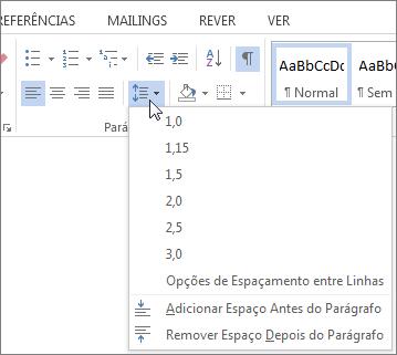 Captura de ecrã do separador base no Word, que mostra o menu de linha e espaçamento entre parágrafos.