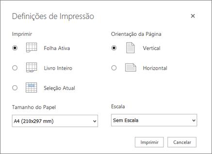 Opções de definições de impressão após clicar em ficheiro > imprimir