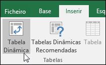 Aceda a Inserir > Tabela Dinâmica para inserir uma tabela dinâmica em branco