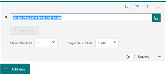 Adicionar uma pergunta de carregamento de ficheiros ao seu Formulário