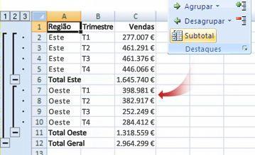 O comando Subtotal agrupa dados num destaque