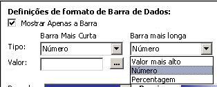 definições de formatação para barras de dados