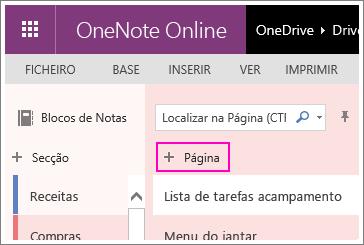 Captura de ecrã de como adicionar uma página ao OneNote Online.