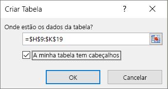 Captura de ecrã a mostrar a caixa de diálogo Criar Tabela com a caixa de verificação A minha tabela tem cabeçalhos selecionada