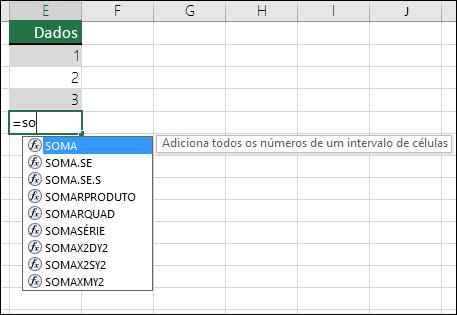 Conclusão Automática de Fórmulas do Excel