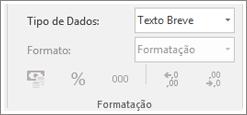 Recorte de ecrã a mostrar o campo do tipo de dados