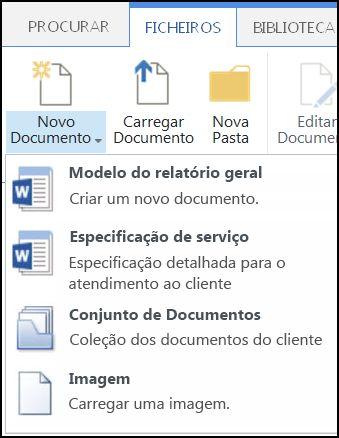 Menu Novo Documento com tipos de conteúdos personalizados no SharePoint