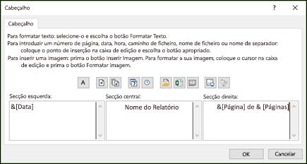 Caixa de diálogo Personalizar Cabeçalho de Configurar Página