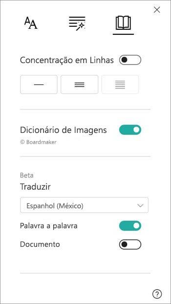 As opções de tradução são encontradas na secção Do Dicionário de Imagem.