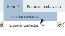Uma captura de écran da opção Importar contatos no menu Gerir