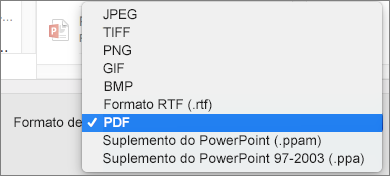 Exportar PDF no PowerPoint 2016 para Mac