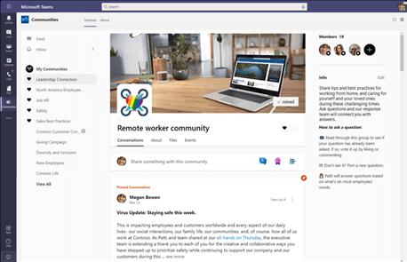 App Yammer Communities em Equipas da Microsoft
