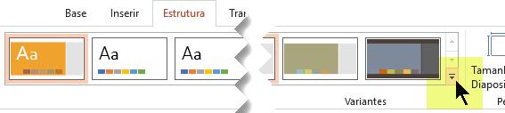 Selecione a seta para baixo que abre a galeria de variantes de cor