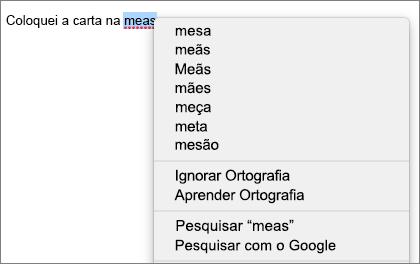 Erro de ortografia com menu a mostrar as opções de correção