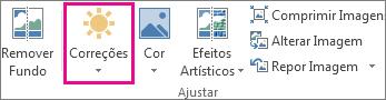 Botão correções no separador Ferramentas de Imagem