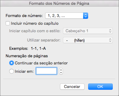 Selecione o formato dos números de página