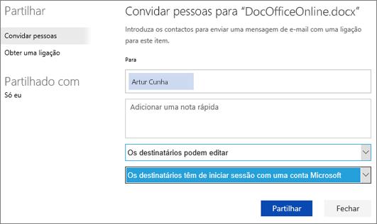 """Captura de ecrã da caixa de diálogo Partilhar a mostrar a opção """"Os destinatários têm de iniciar sessão com uma conta Microsoft"""""""