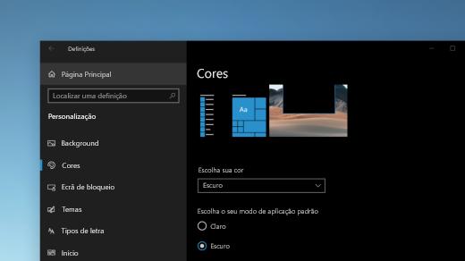 A página de Cores nas Definições do Windows apresentada no modo escuro
