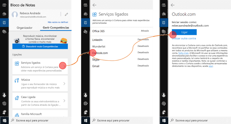 Captura de tela com a Cortana aberta no Windows 10 e o menu serviços ligados abertos.