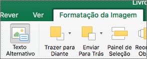 Botão de texto alternativo para imagens no Friso no Excel para Mac