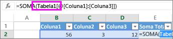 Nome da tabela apresentado nas fórmulas