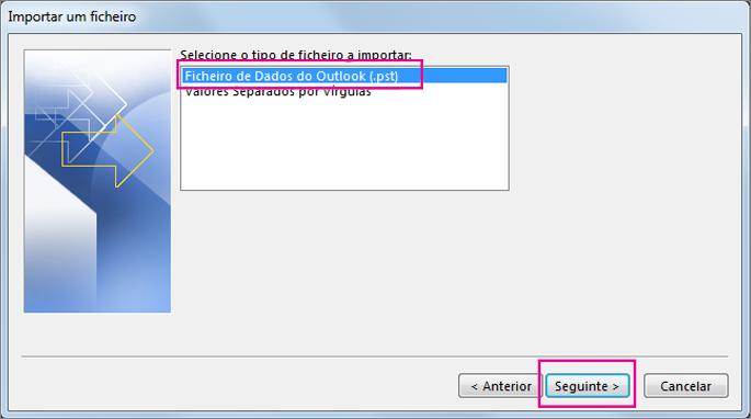 Selecione a importação de um Ficheiro de Dados do Outlook (.pst)